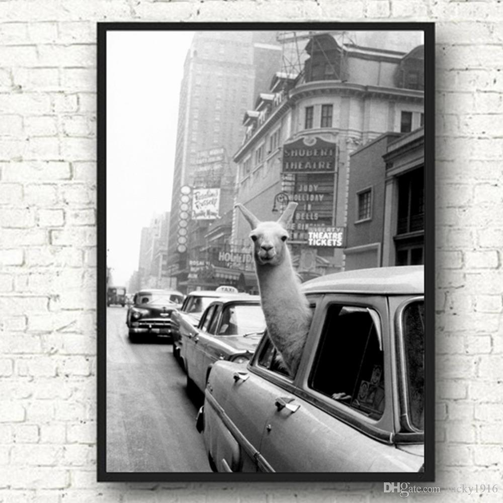 Llama in a New York City taxi Wall Art Modern Canvas Painting Nordic Posters And Prints Animal Wall Pictures For Living Room Home Decor