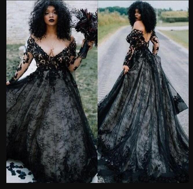 2020 African Black Lace готические свадебные платья Свадебные платья с длинным рукавом мусульманское V шеи Свадебное платье в стиле кантри линия Свадебное платье одежды