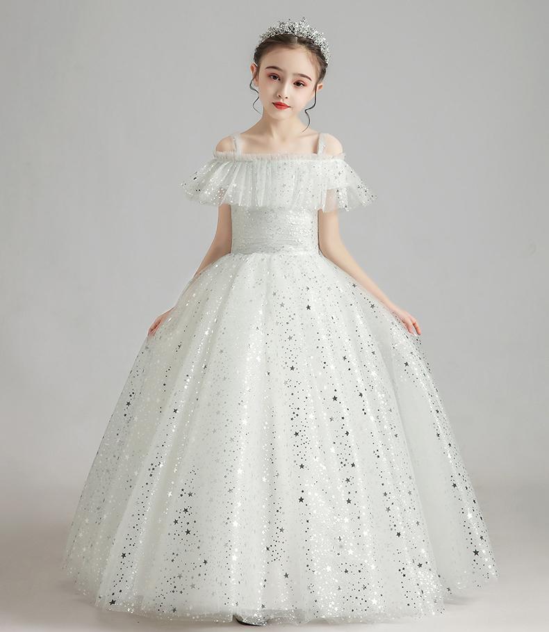 Sogno bianco argento stelle stelle cinghie di fiori fiore ragazza abiti ragazze 'Pageant Abiti vacanze / abito da compleanno / gonna Dimensione personalizzata 2-14 DF710325
