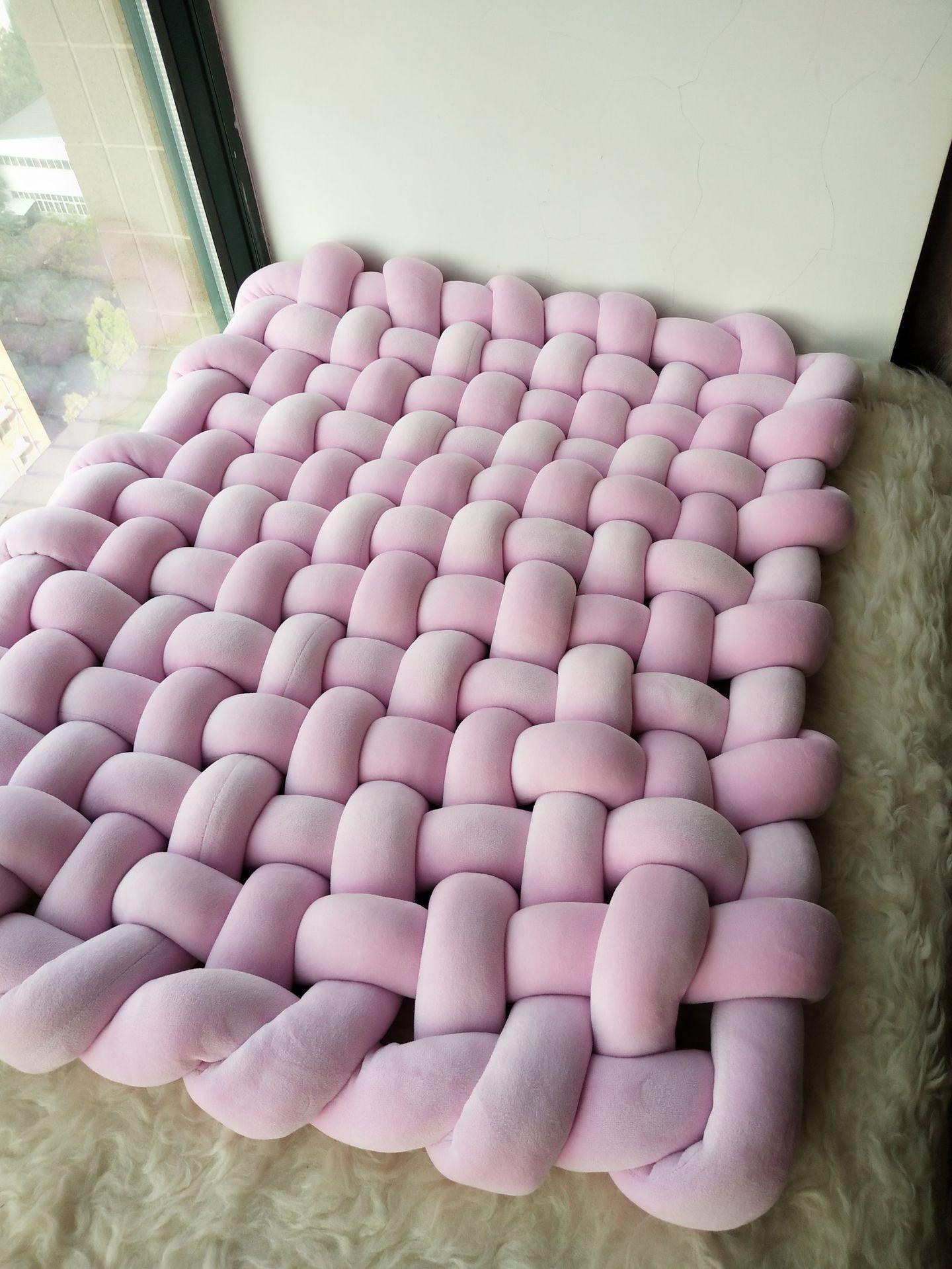 INS estilo torção artesanal tecido Prop mat chão Blanket escalada antiderrapantes tapete almofada decoração adereços filmagem de recém-nascido cobertor