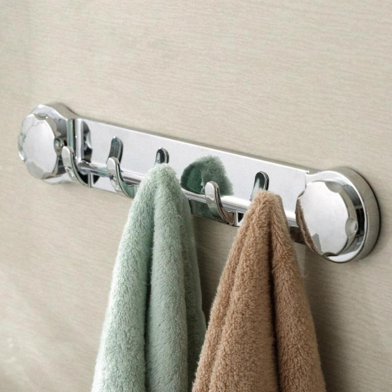 Multifunctional Bathroom sucker Hook Wall Holder Hanger Towel Robe Storage Chromed Strong Suction Removable Chrome Color / White kPU4#