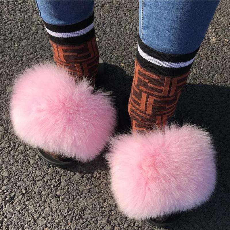 Pantoufles Femmes Fourrure Véritable Diapositives Intérieur Flop Furry Home Dames Sandales moelleuses Vogue Chaussure en peluche