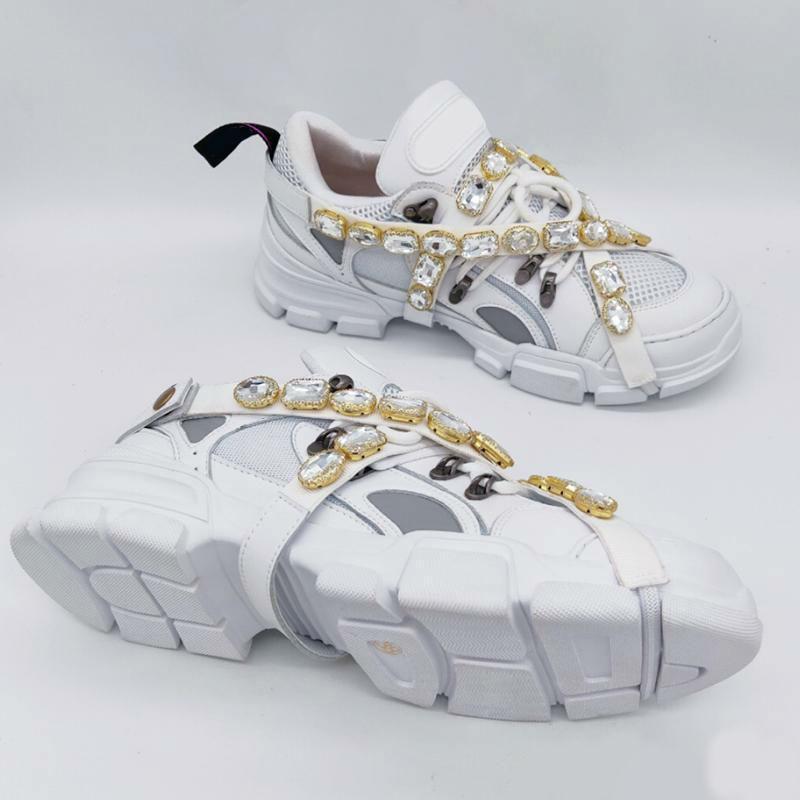 Çıkarılabilir kristaller Erkek Lüks Tasarımcı Personel Ayakkabı ile FlashTrek sneaker Moda Lüks Tasarımcı ayakkabı Box ile Eğitmenler Sneakers Womens