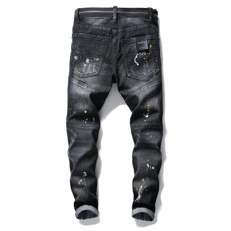 kyFIE осень зима новый Побитый щеткой высокого класса мужские джинсы и jeanstrousers и jeansslim Оснастите шить джинсы тощий нищий штаны Trendy