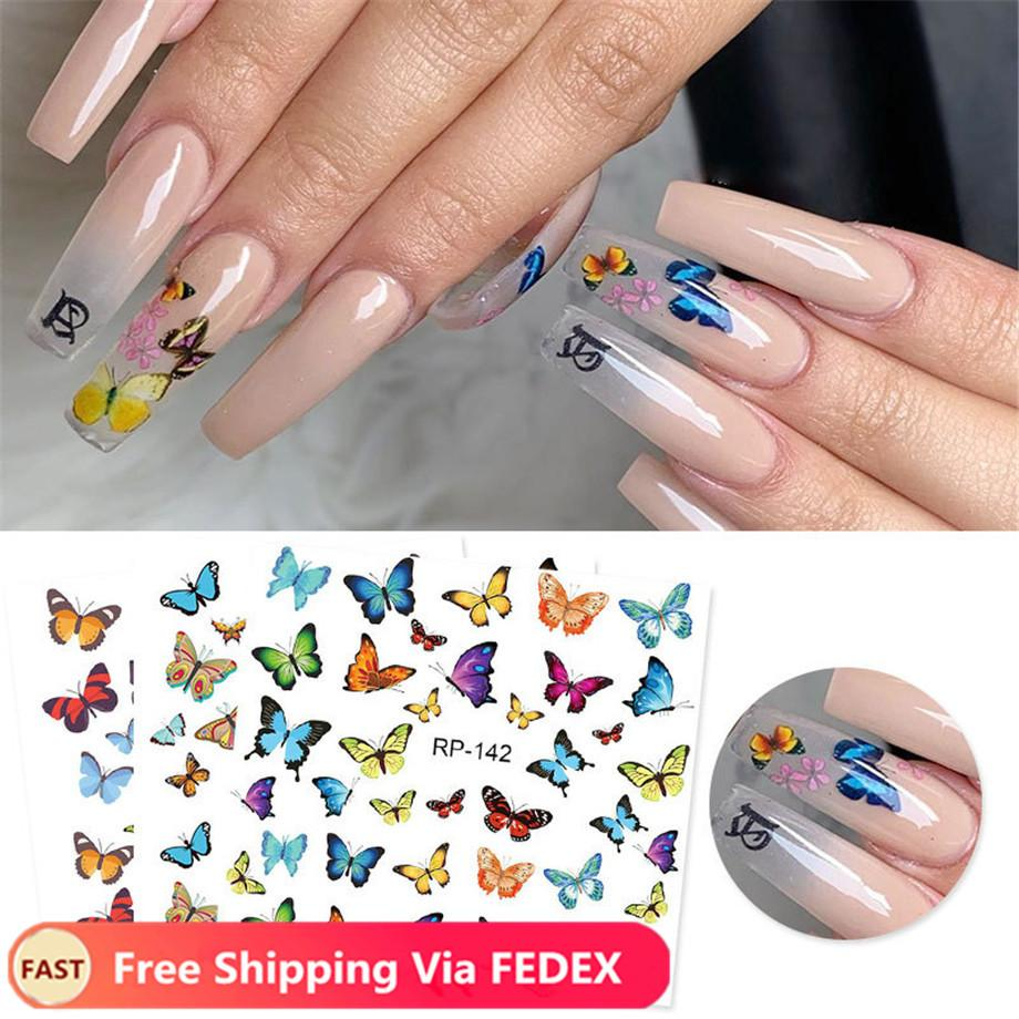 3D Nail Sticker Colorful Butterfly Design Transfer Sticker Paper Beautiful Nail Decals Decoration Nail Art Accessories