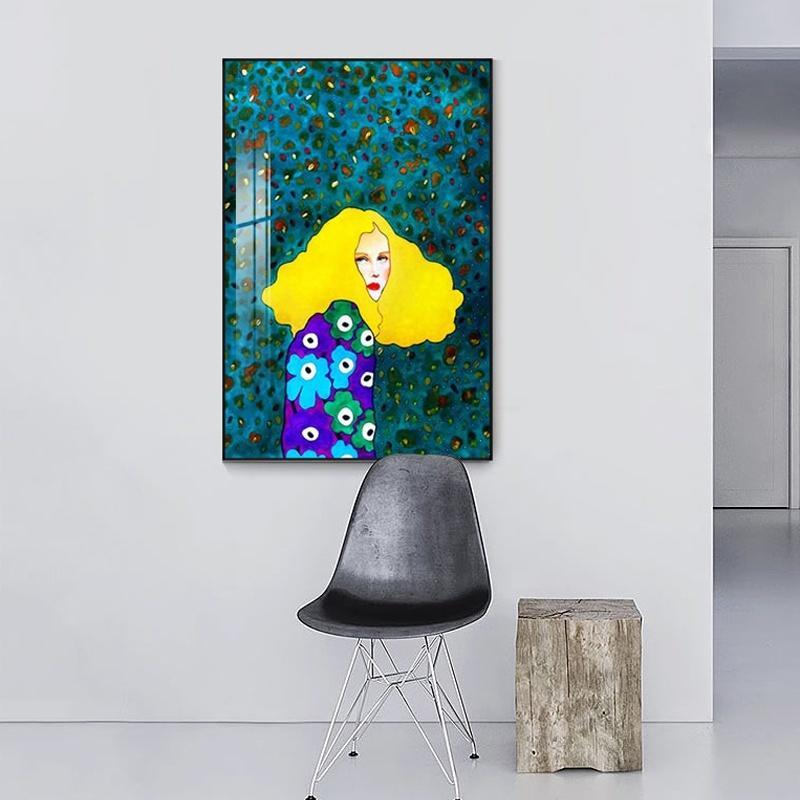 Style abstrait coloré Figure toile Peinture Portrait Fille nordique Poster Prints Wall Art Photos de Chambre Moderne Décoration