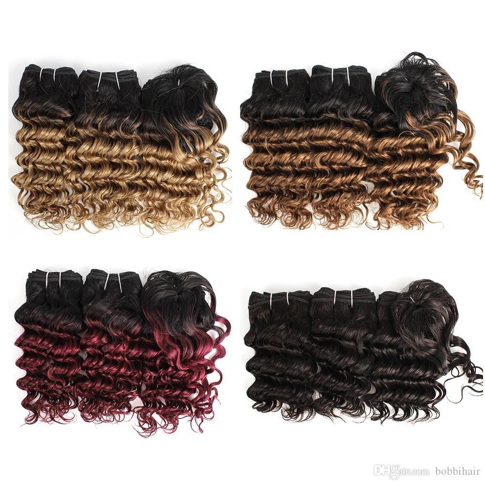 Günstige Ombre Menschliches Haar Weaves Indian tiefe Wellen-lockiges Haar-Bundles 8-10 Zoll 3pcs / Set Blond Rotwein Menschenhaar-Verlängerungen 166g / Set