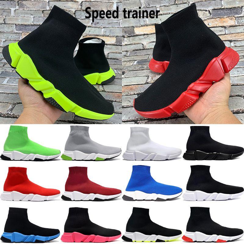 새로운 패션 스니커즈 파리 속도 트레이너 남성 여성 트리플 흑백 녹색 대학은 베이지 색 스트레치 니트 플랫폼 캐주얼 양말 신발 빨간색
