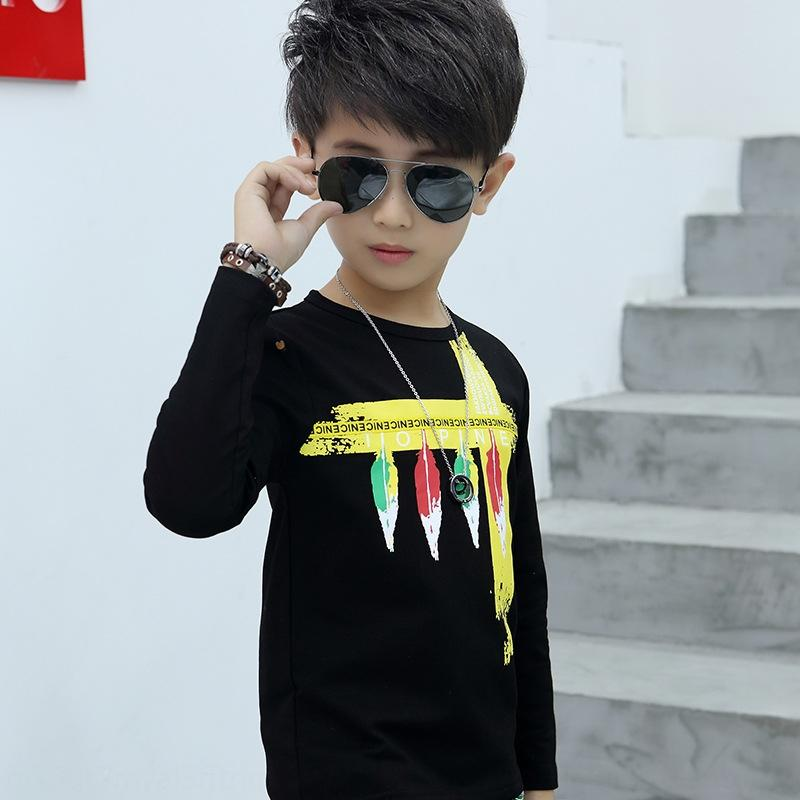 manga longa de algodão puro do menino 2019 T- novo meio e casual camisa outono T- infantil base de camisa do menino crianças grandes 9