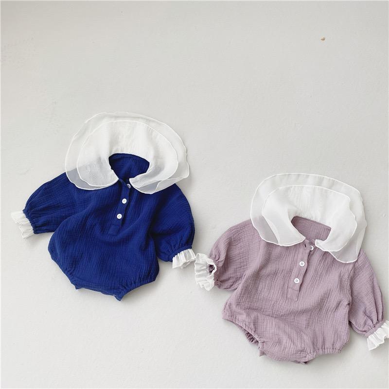 IN neuesten Baby-Jungen-Mädchen-Spielanzug-Leinen-Baumwollspitze Umlegekragen Qualität Langarm Jumpsuits neugeborene Baby-Aufstiegskleidung 0-2T