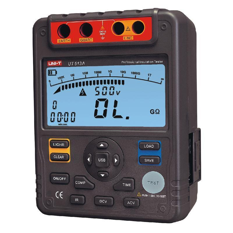 UT513A Insulation Resistance Tester 5000V Automatic Range Digital Megohmmeter Data Storage Polarization Index Backlight