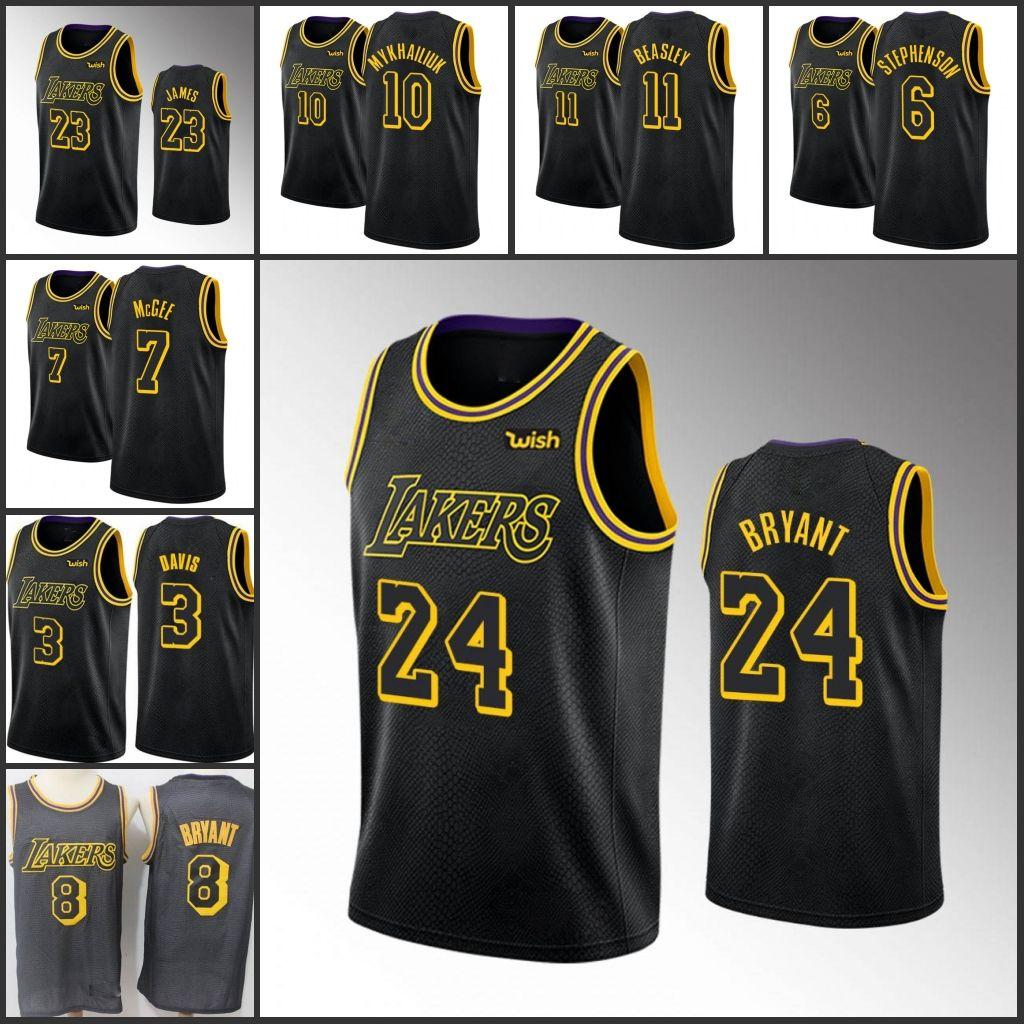 los AngelesLakersKobeBryantHombres LeBron James JaVale McGee Anthony DavisNBA Jersey personalizado Negro