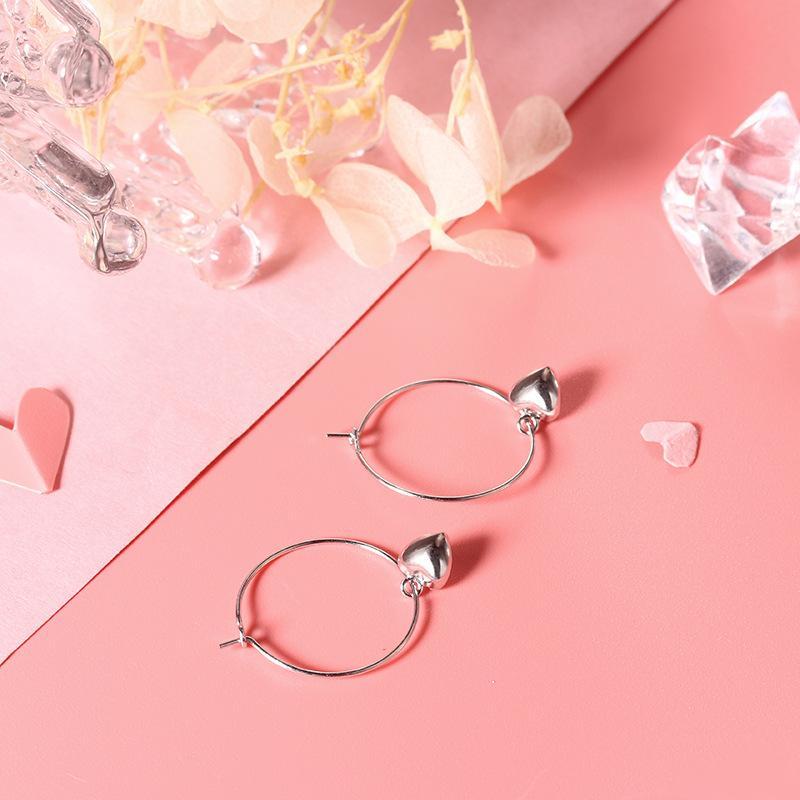 B S925 Sterling Silver Ear Stud Immortal Heart Earrings Female Temperament Lovely Ear Ring Net Simple Red Ear Pendant Clip Moq1