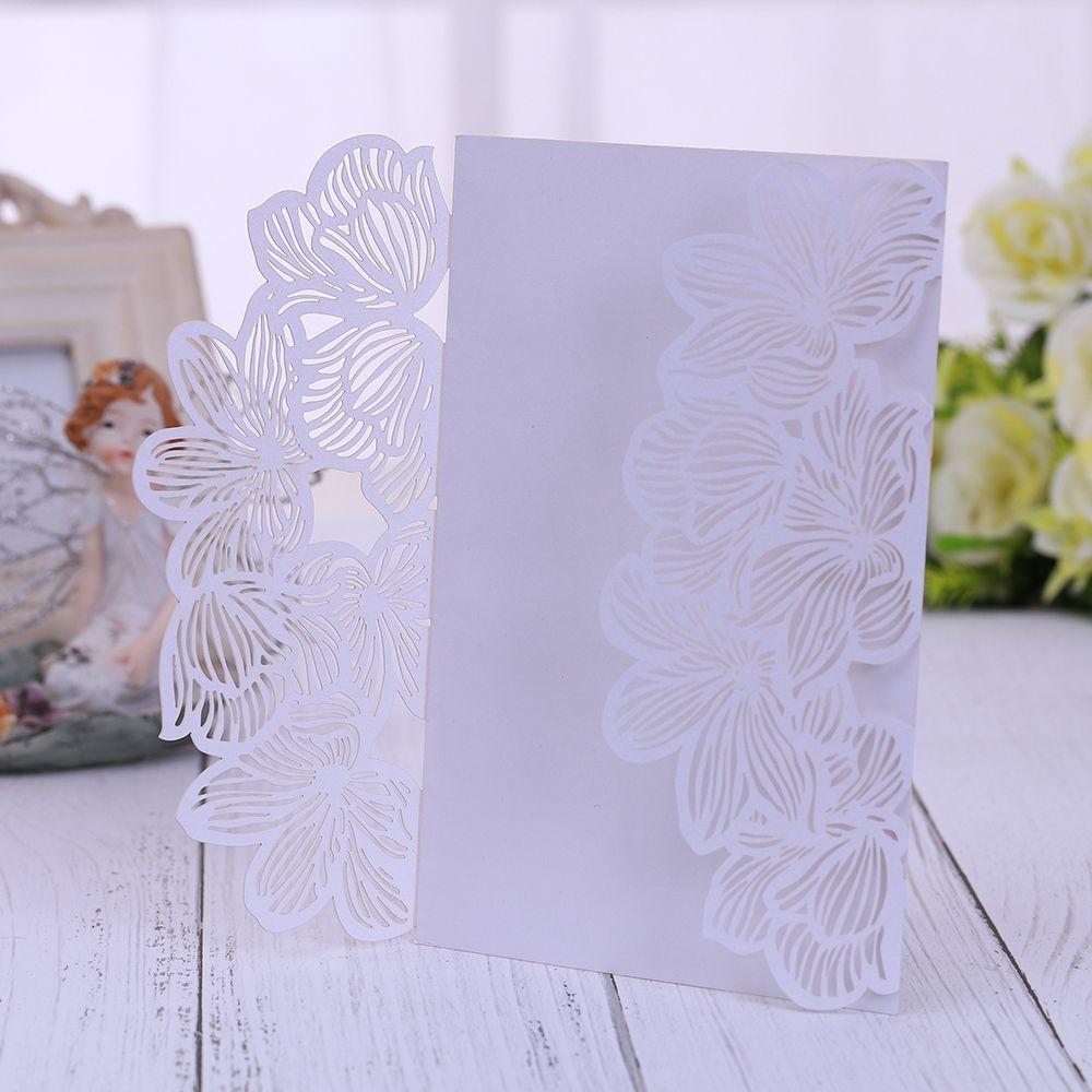 Boş Yazdırılabilir Kağıt Düğün Gelin Duş Nişan Doğum parti ile Zarflar 5 setleri Lazer Kesim Düğün Davetiyeleri