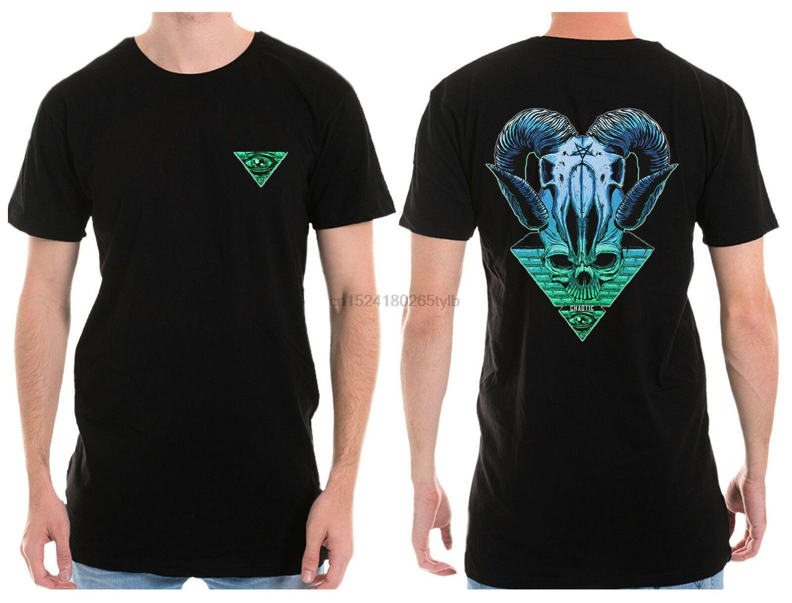 Chaotic Grand T T-shirt Longline Rain Man Illuminati tatouage de crâne Rave Mode