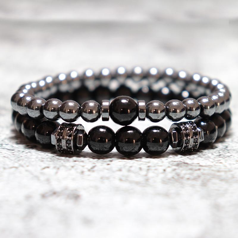 2 Pcs/Paired Hematite Men Bracelet Luxury Zirconia Black Beads Braclets For Male Armband Jewelry Bileklik Homme