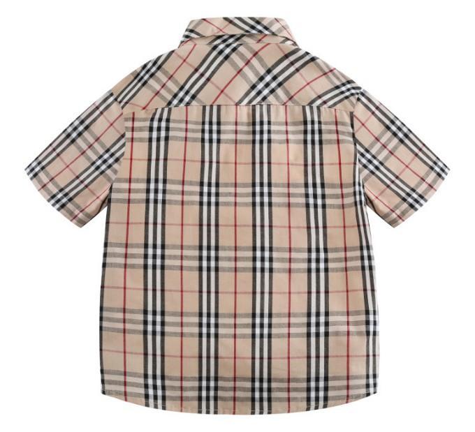 estilo de lapela xadrez britânico camisa de manga curta ensino médio desgaste do verão das crianças novas dos meninos
