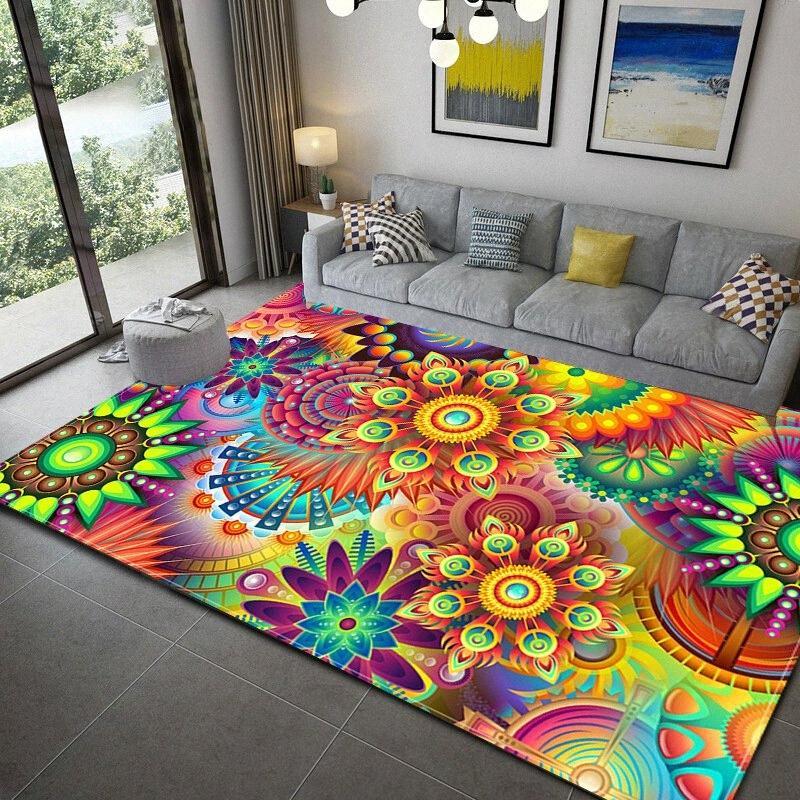 Moderne bunte Böhmen-Art-Teppiche für Wohnzimmer Haus verzieren Teppich Kinderzimmer Spielmatte Flanell Memory Foam Schlafzimmer Vorleger 0jtv #