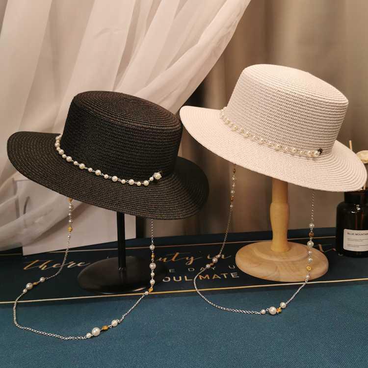 Elegante paja señora sombrero perla adorno de decoración plana sombrero de paja playa francesa del viaje del sol de compras de vacaciones