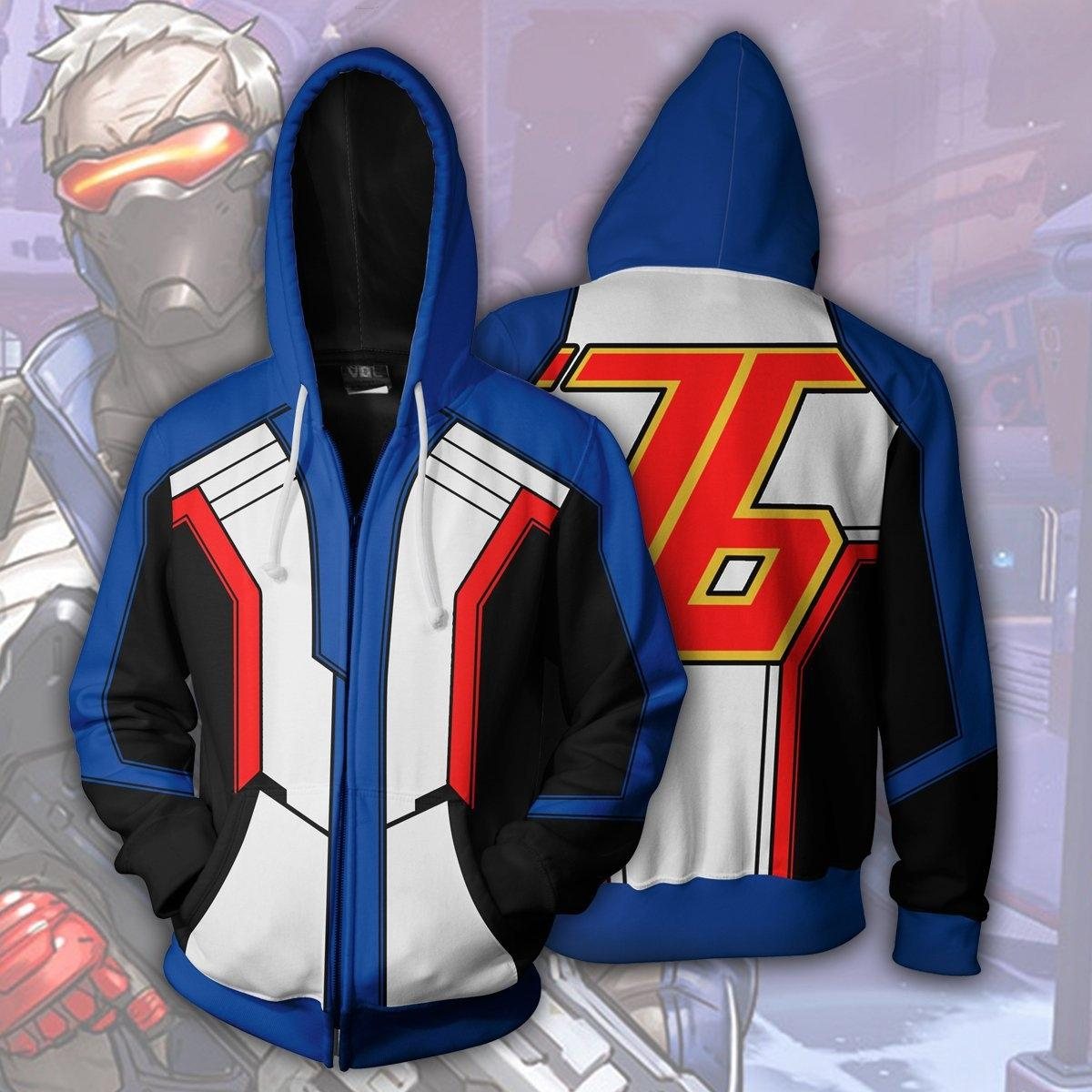 XueYN Nuovo orologio pioniere Soldato serie 76 cardigan cosplay anime periferica nuova vigilanza del hoodie pioniere serie Soldier 76 cardigan con cappuccio EzTmP