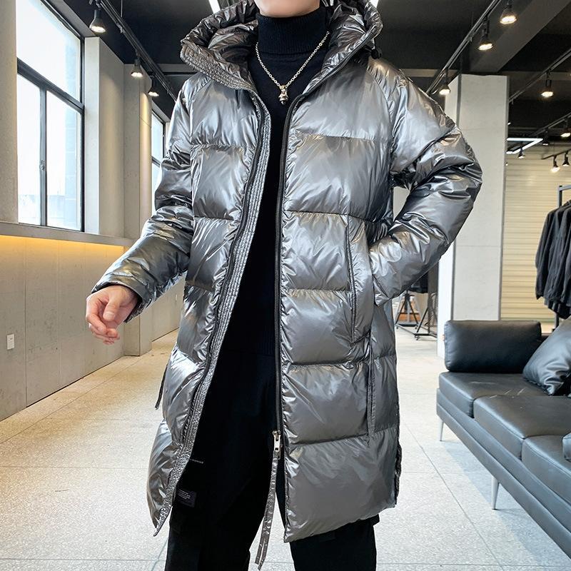 Kış yeni trendi orta boy erkek gevşek ışığa duyarlı aşağı ceket parlak ceket aşağı sıcak beyaz ördek kapüşonlu