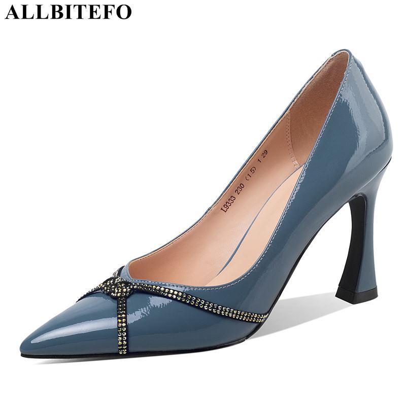 Zapatos de vestir Allbitefo Llegada de cuero genuino Sexy tacones altos Party Mujer Tacón de tacón de la oficina Señoras