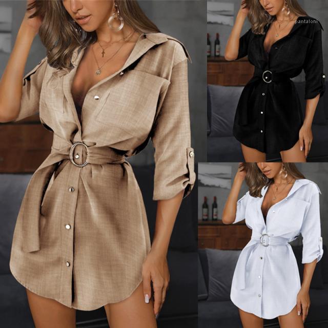 OL Kemer Yaka Boyun Elbiseler Kadınlar Moda Casual Giyim Kadın İnce Seksi Gömlek Elbise Yaz Kadın Katı Renk