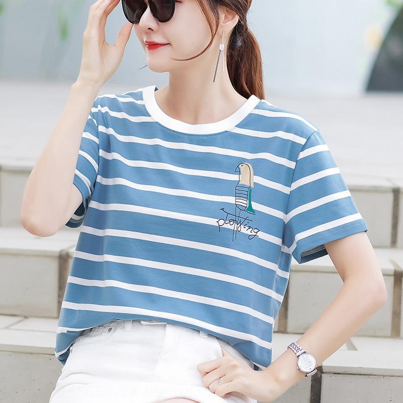 Yeni 2020 bahar kadın giyim moda rahat Kore tişört tarzı her maç öğrenci kısa kollu tişört gevşek 1