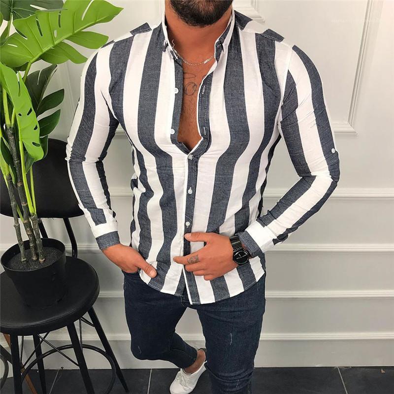 Manches longues cou Chemises Lapel Vêtements pour hommes Mode Hommes Chemises Designer motif rayé Chemises Casual Cassettes
