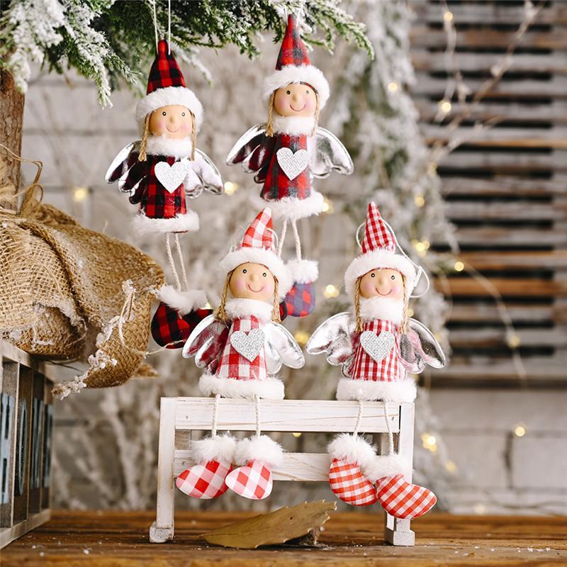 Улыбка куклы Рождество висит кулон Стильный плед Xmas украшения Серебро Фестиваль крыла украшения рождественской елки Оптовая подвеска