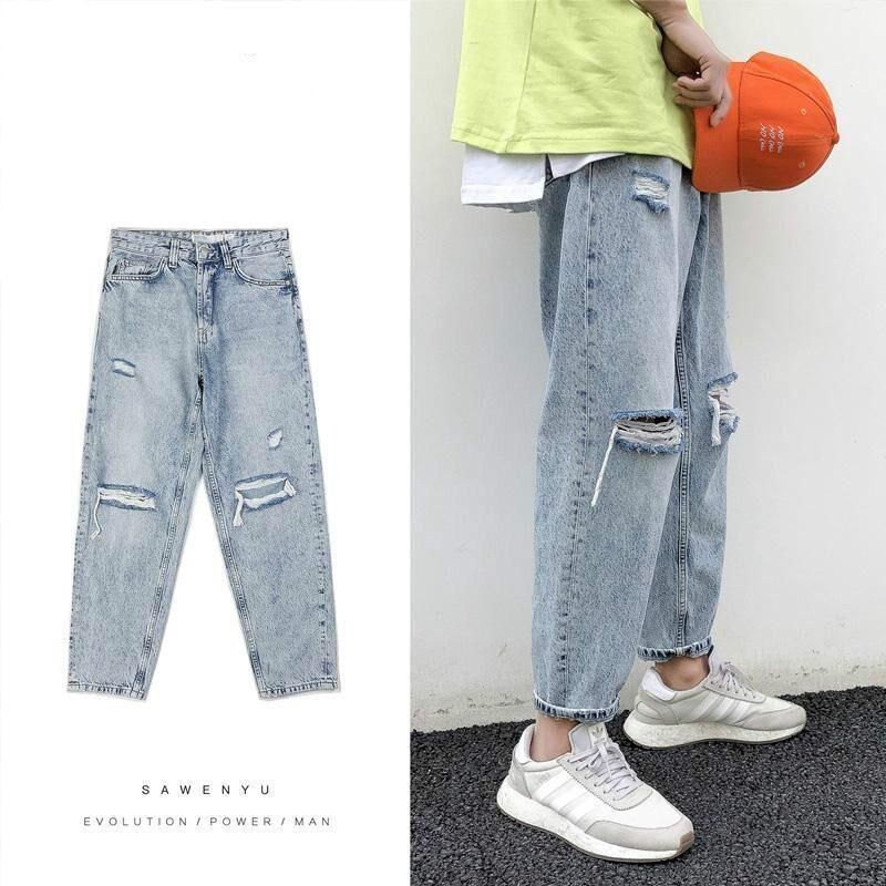 Giapponesi Ripped sciolti direttamente Capri-Pantaloni Jeans Uomo coreano maschio casuale dei pantaloni Hiphop Abbigliamento Streetwear Distressed Jeans