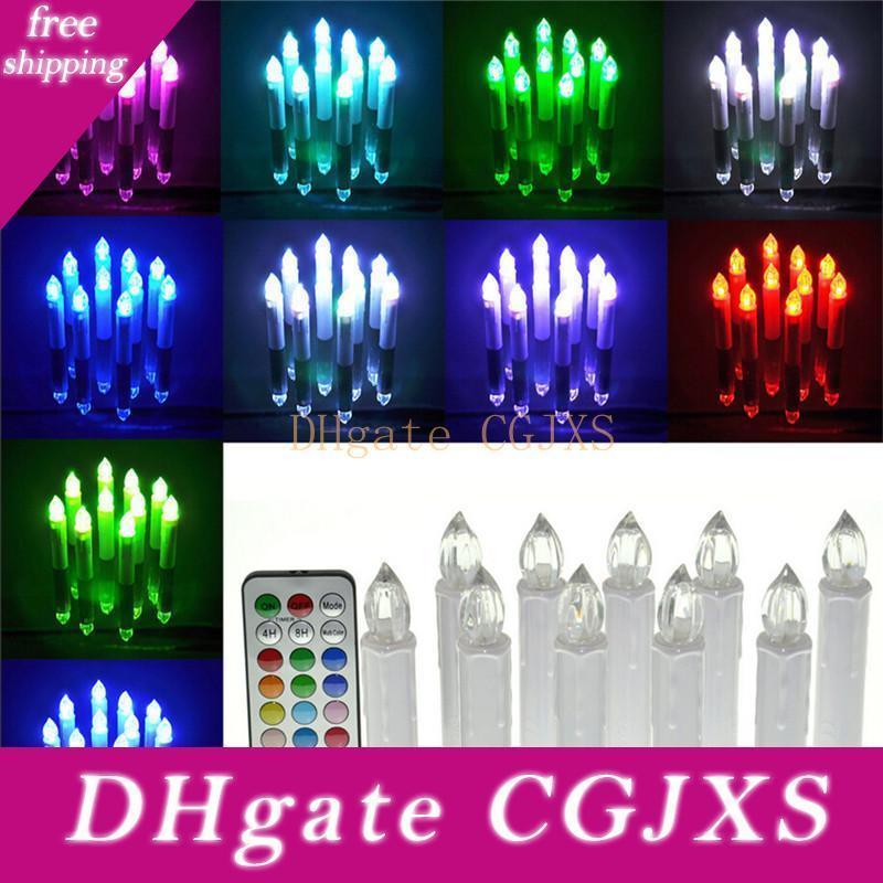 10pcs / equipo de control remoto velas de luz eléctrica luz de las velas 12 cambian de color parpadeo del té de la fiesta de bodas Festival Inicio ZA5775