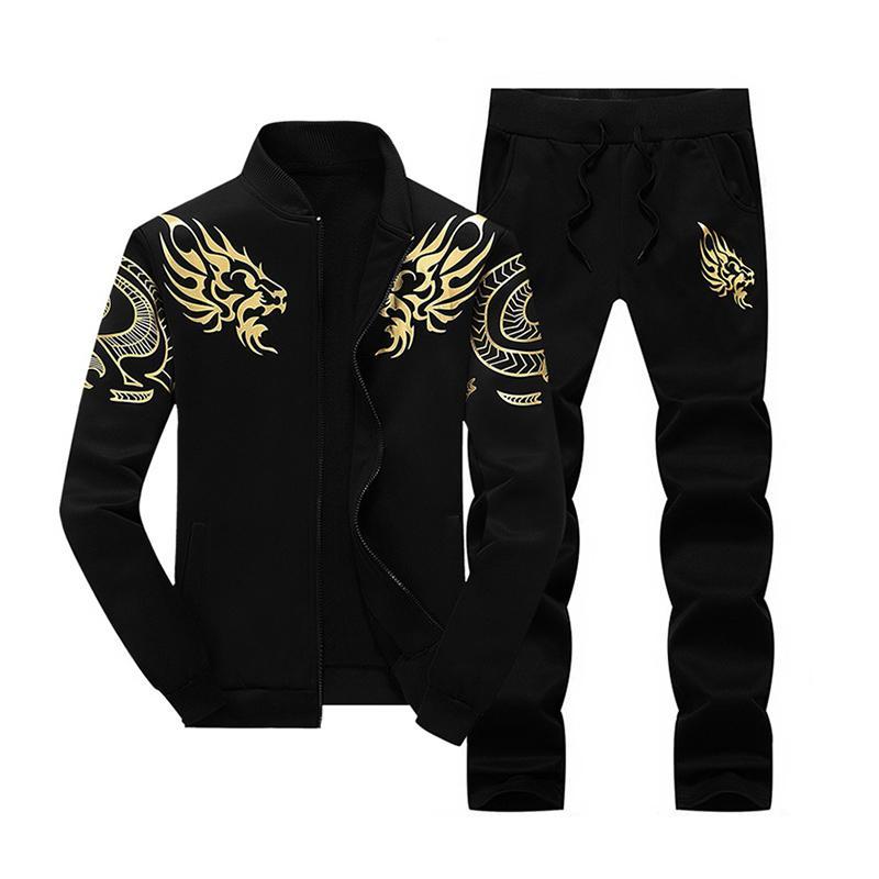 2 pedazos del dragón ropa de los hombres chándal Set Deportes Sweat Hoodies capa de la chaqueta + pantalones largos 2020