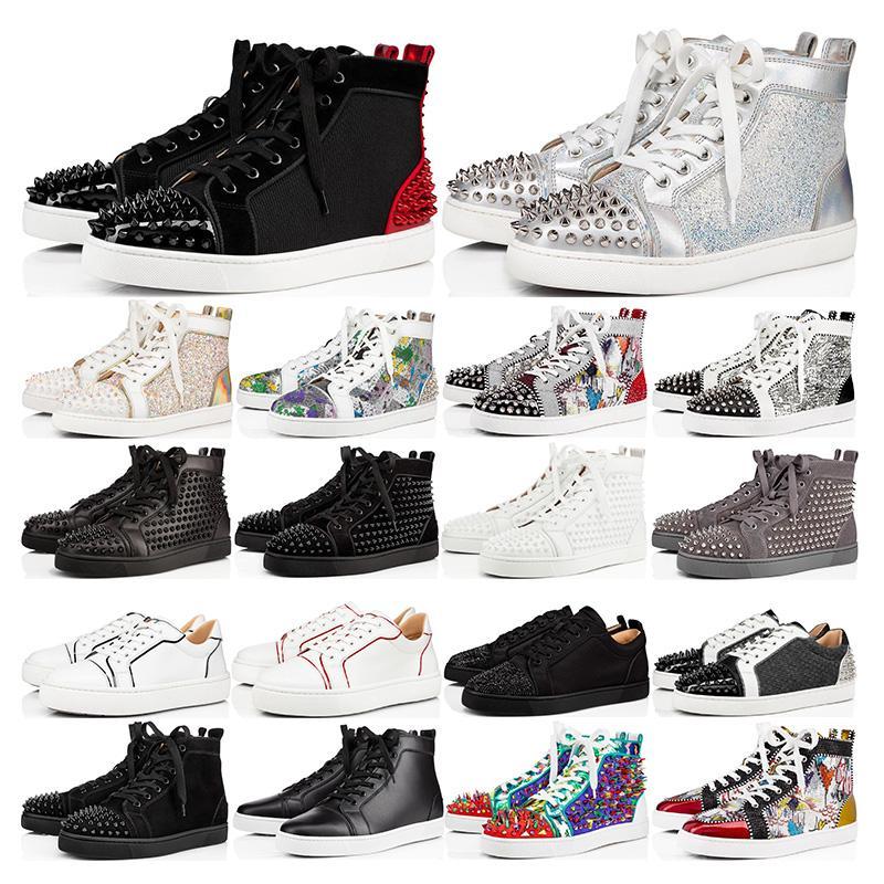2020 mens inferiores del rojo de cuero de gamuza de moda de calidad superior con tachuelas Spikes la zapatilla de deporte de las mujeres zapatos planos amantes de la fiesta tamaño 36-46 con la caja