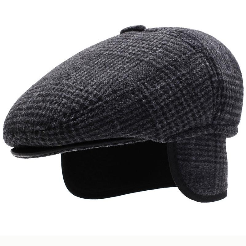Chapéu de Inverno Cap Beret HT2631 Homens Outono Earflap Cap Grosso Quente Homens Ear Flap Newsboy Ivy Dad Hat Vintage Boné Masculino Wool Beret T200718