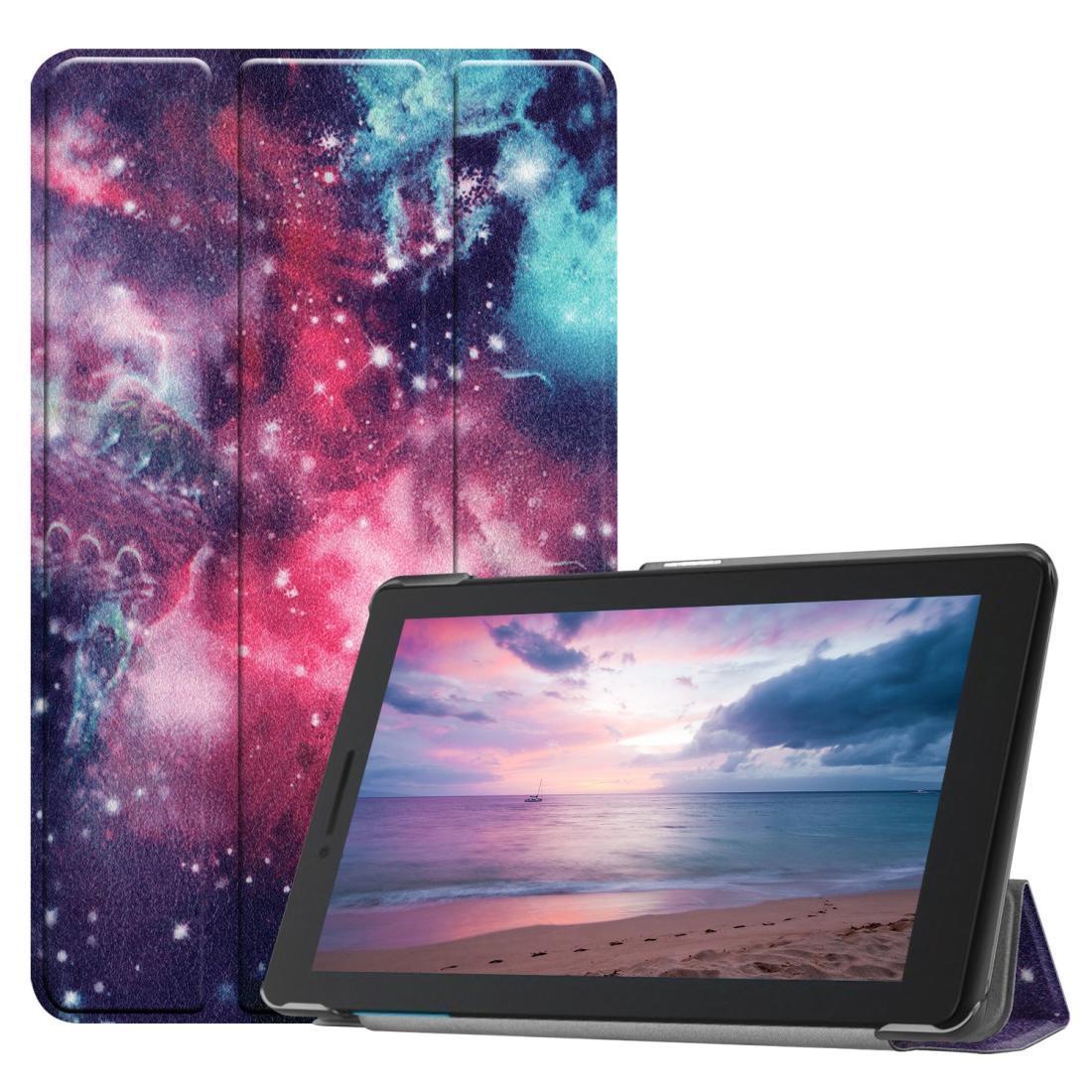 Motif Galaxy coloré peint cas Flip horizontal en cuir PU pour Lenovo Tab E8 TB-8304F, avec support pliant à trois