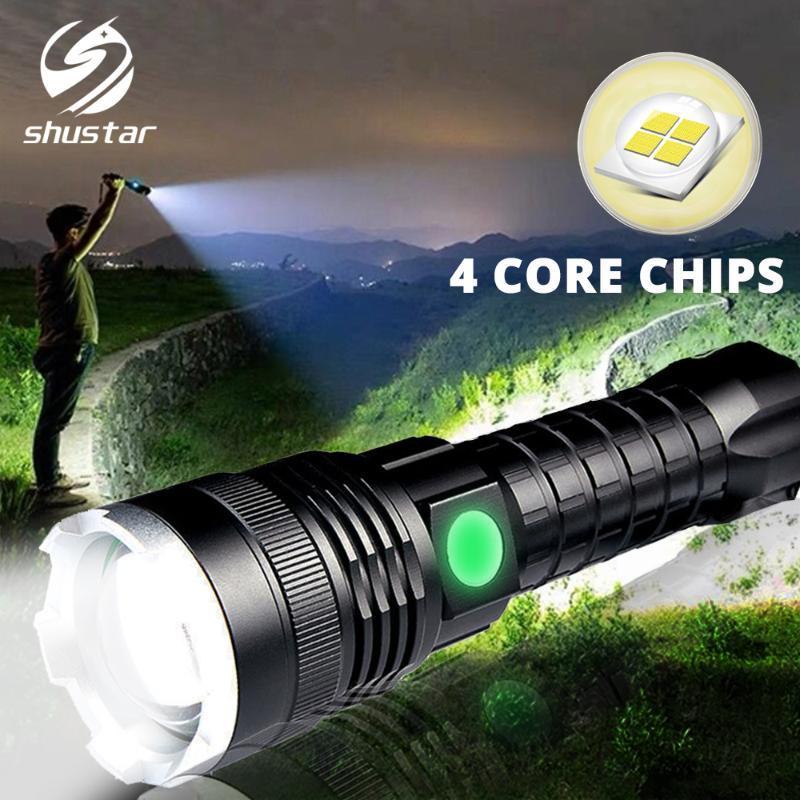 Super Potente LED XHP50 Zoomable tattica della torcia ricaricabile lampada impermeabile ultra lanterna luminosa a batteria 26650