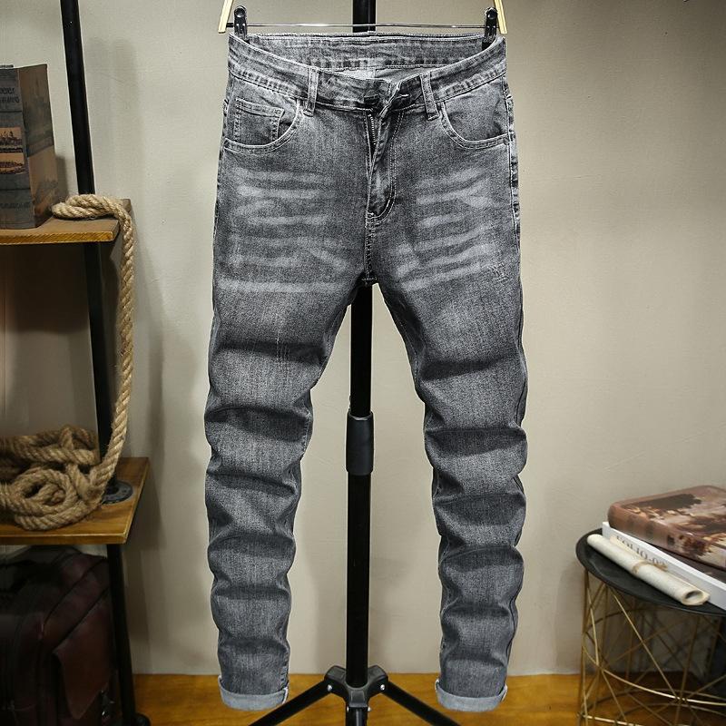 ksrgJ Trendy grau schmal und gerade Jeans der Männer groß der Fit-Jeans Männer modisch Allgleiches Größe