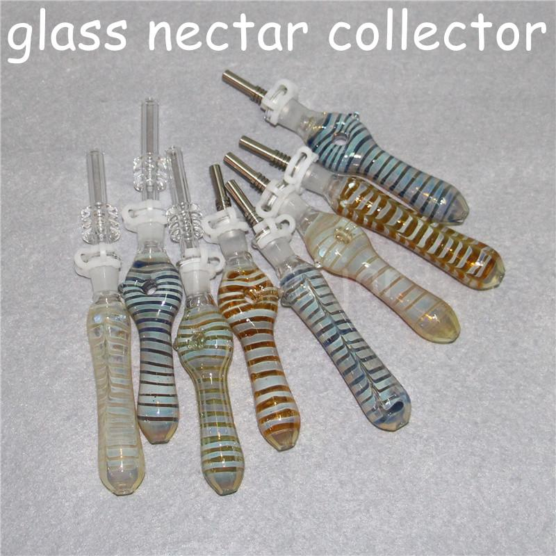 Glass Nectar Collector Mini Water Pipes with GR2 Titanium Nail 10mm Concentrate Dab Straw glass Pipe Oil Rigs