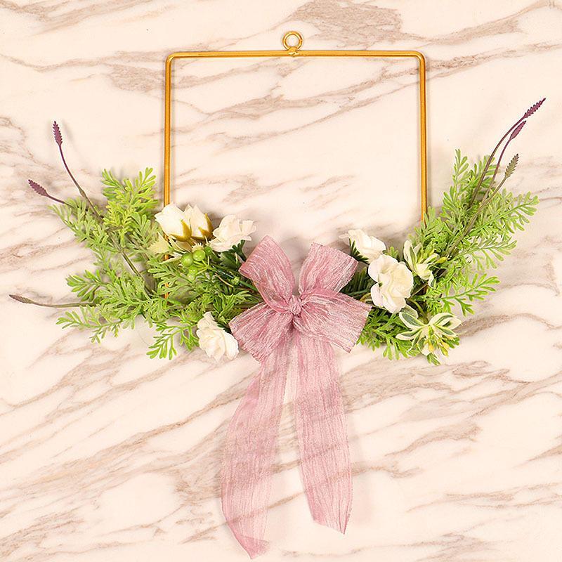 Yapay Çiçek Çelenk Metal kolye Ev Dekorasyonu Süsler Ön Kapı Duvar Ev Düğün Çiçek Garland Dekorasyon Asma