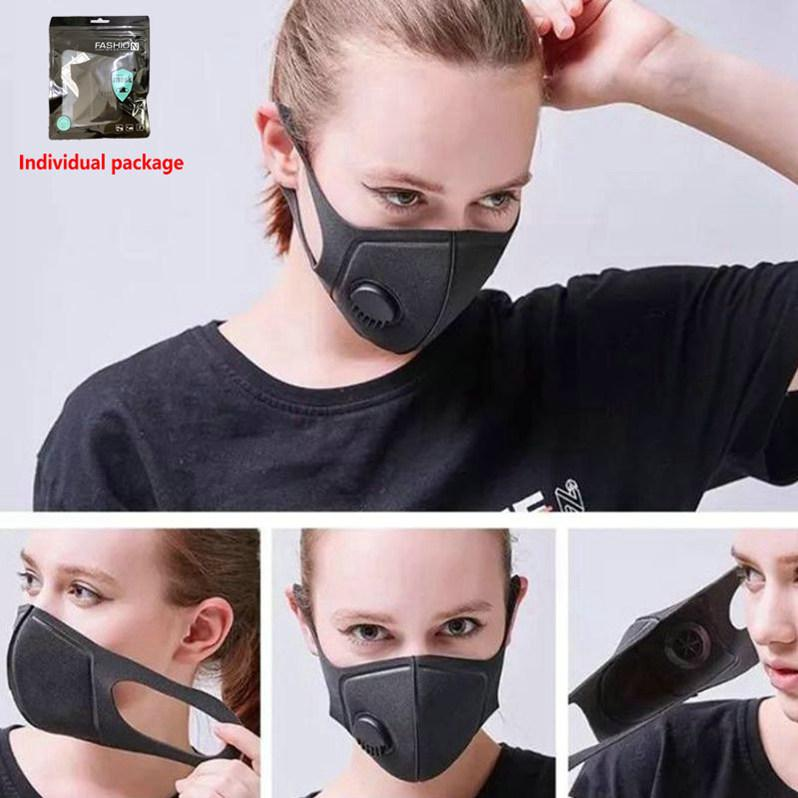 Reusable Breathing Valve Masks Anti-allergic Mouth Masks Anti-Dust Anti Pollution Mask Cloth Mask 50pcs