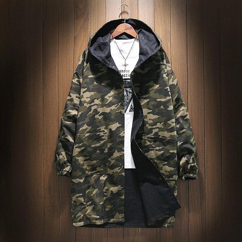 Nuovo Army Green Camouflage reversibile Trench For Men inverno spesso cotone Fodera Cappotto Uomo lungo oversize con cappuccio Giacche 5WJx #