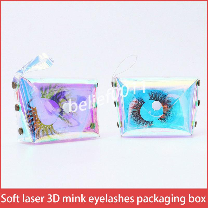 Nouveau laser gros doux cils de vison 3D Boîtes d'emballage lash boîte d'emballage logo personnalisé bande faux étui vide