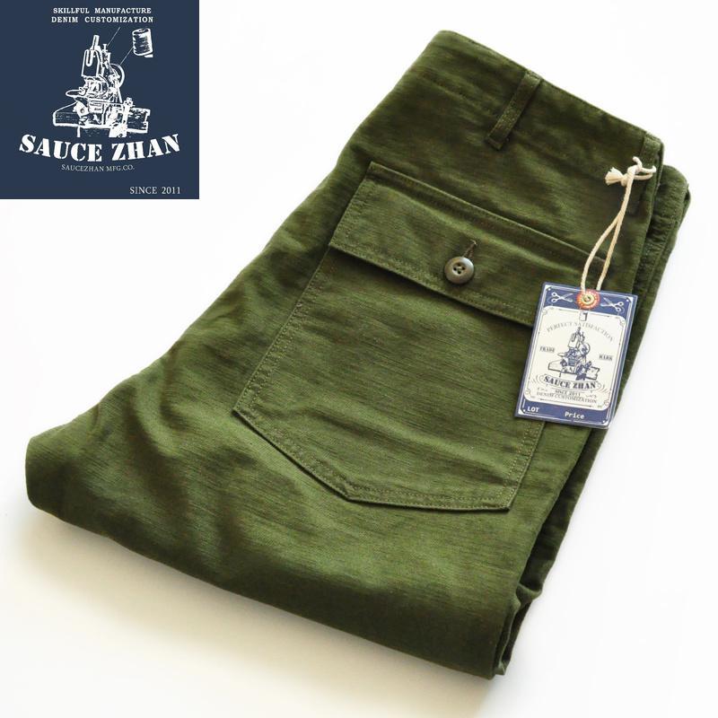 SauceZhan Utilidad Fatiga Pantalones militares de la vendimia clásico de oliva de satén hombres rectos Capris Pantalones Cargo CX200728