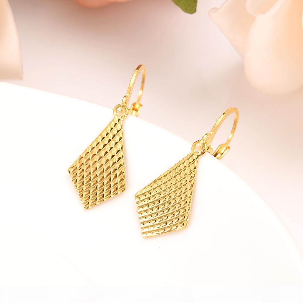 G 10k Reines Gelbgold Gf Ohrring echtes Italien Frauen; S-Flash Prächtige Art und Weise Neue Ankunft afrikanische ethnische Art Rhombus Elegante