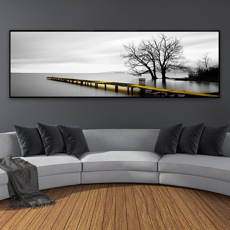 Sakin Gölü Yüzey Uzun Sarı Köprüsü Sahne Siyah Beyaz Kanvas Tablolar Poster Baskılar Wall Art Pictures Salon Ev Dekorasyonu