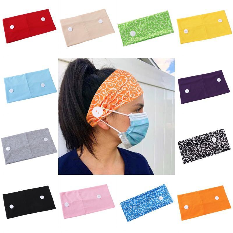 Face Masks Holder Headband With Button Women Yoga Hair Band Wide Elastic Headwear Sport Head Wrap Hair Accessories LQQ06