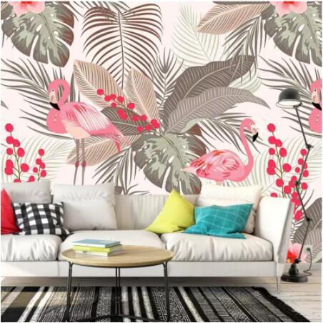 Nordic semplice piccola fresca fenicottero grandi murales tropicali foglie TV parete di fondo personalizzati carta da parati ambientale