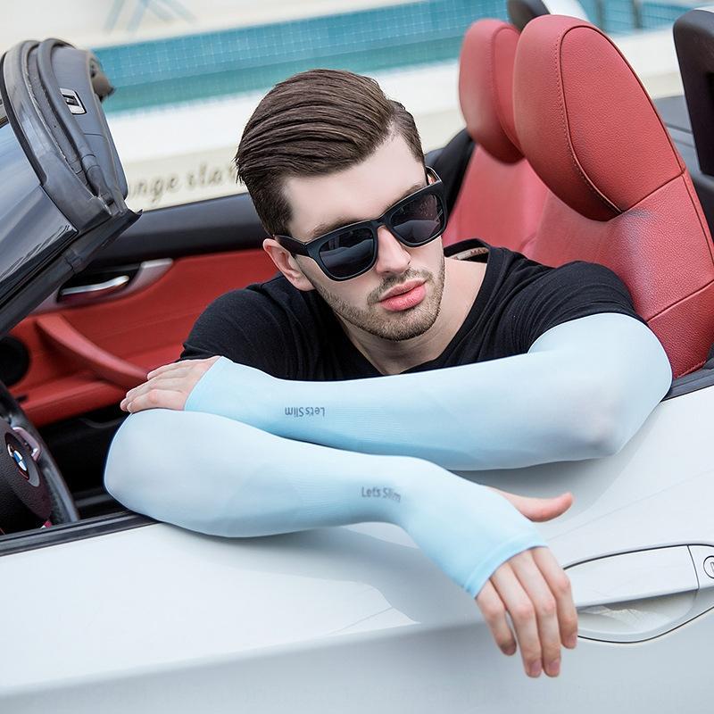 cargo Fabbrica ghiaccio freddo protezione solare Guanti e guanti da donna maniche degli uomini UV maniche di seta sottile di ghiaccio di guida