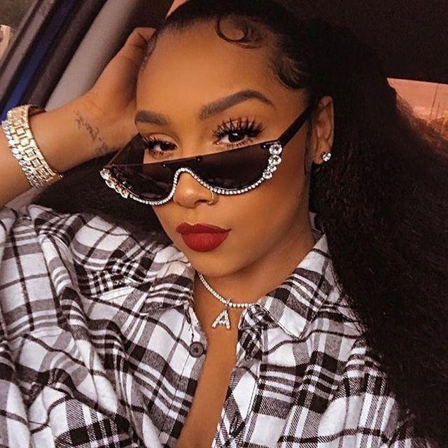2019 Crystal moda medio marco sin montura ojo de gato gafas de sol Gafas de sol para mujer gafas de sol de diseñador de la marca de diamantes de imitación sunglaasses